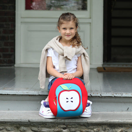 Girl with the Insulated Apple-themed Dabbawalla Lunch Bag - Back-to-school.
