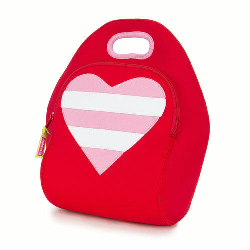 Heart Lunch Bag by Dabbawalla Bags is a red bag with a large pink and white stripe heart on the front panel