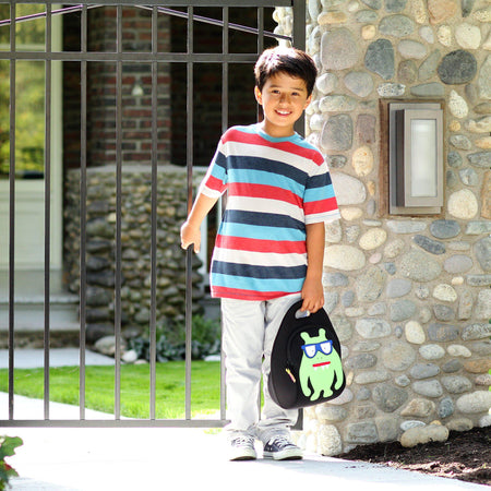 Headed out for an adventure with the Dabbawalla Monster Geek washable lunch box.