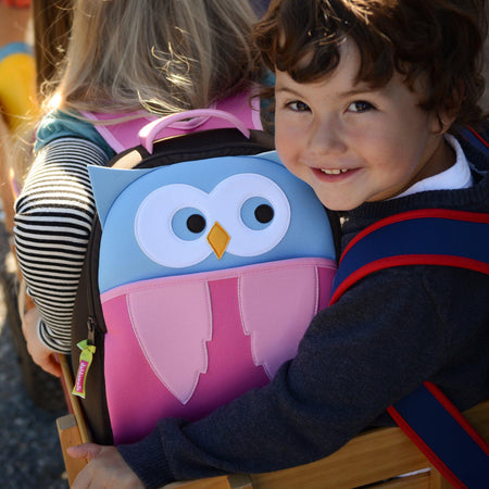 Sweet boy with the Hoot Owl Backpack by Dabbawalla Bags.