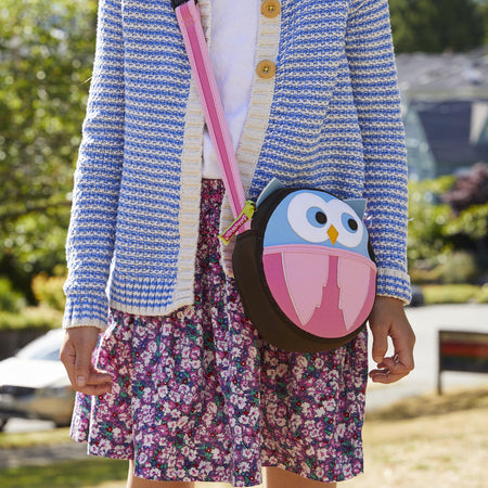 Close-up of the Hoot Owl cross body bag.