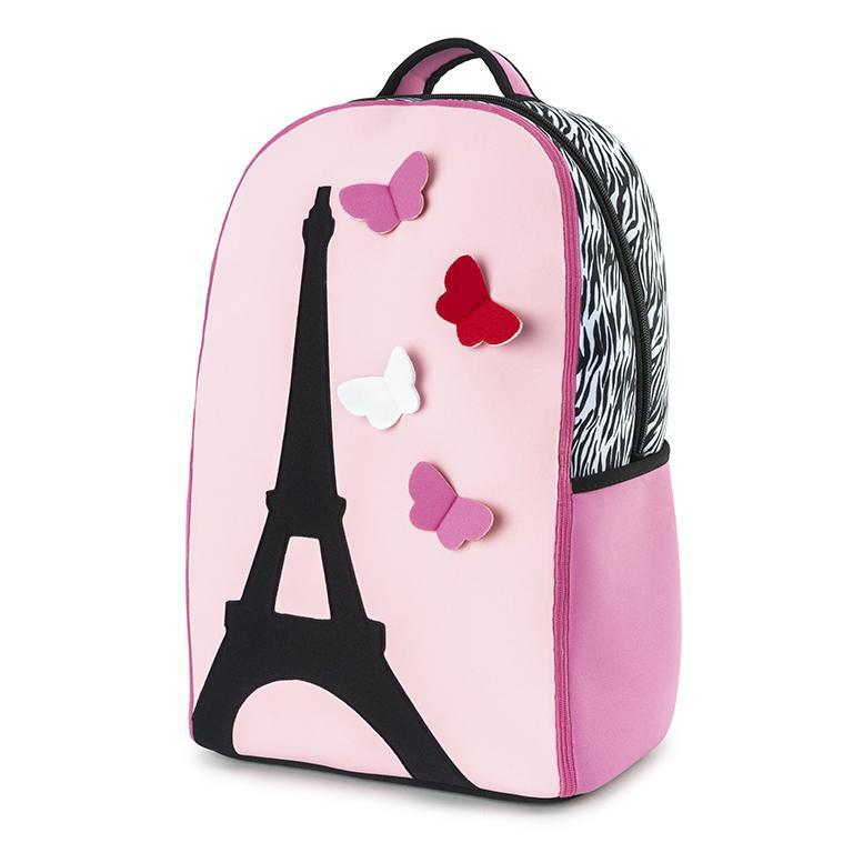 Paris elementary school backpack features a silhouette of the Eiffel tower on a light pink front panel.  The side top panels are a graphic black and white zebra print.  Butterflies are stitched to the front panel and appear to be flying by.