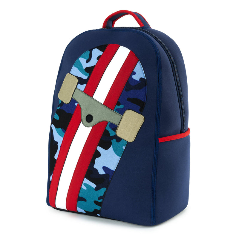 Elementary School Backpack  with large camouflage print skateboard and red and white stripes .   Navy backpack with red trim