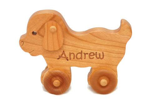 Wooden Toy Car - Puppy Dog - Personalized - Handmade Montessori Toy