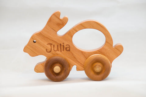 Wooden Toy Bunny Car - Little Wooden Wonders