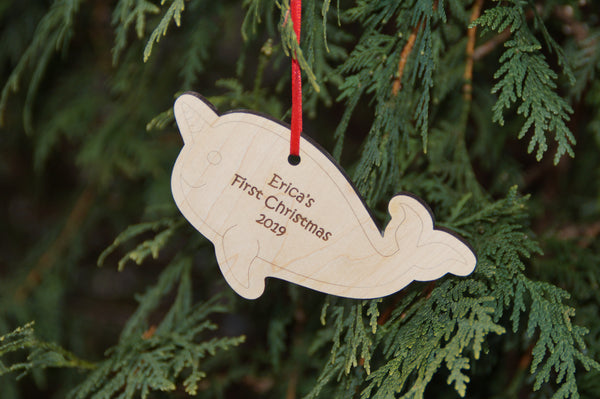 Personalized Narwhal Ornament, Baby's First Christmas Ornament, Gift for Boys and Girls