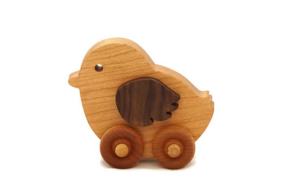 Wooden Toy Car - Chicken - Personalized - Handmade Montessori Toy