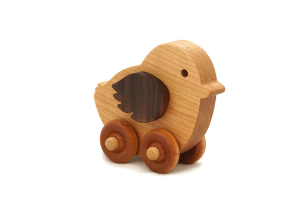 Wooden toy baby chicken car