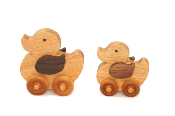 Wooden Toy Duck Car Set