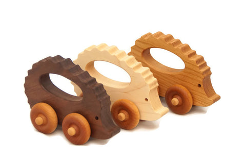 Wooden Toy Car - Hedgehog - Personalized - Handmade Montessori Toy