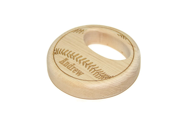 Wooden Baseball Baby Rattle - Personalized Wood Baby Rattle
