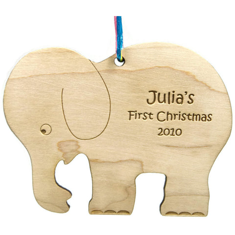 Baby's First Christmas Wooden Christmas Ornament Elephant Personalized - Little Wooden Wonders