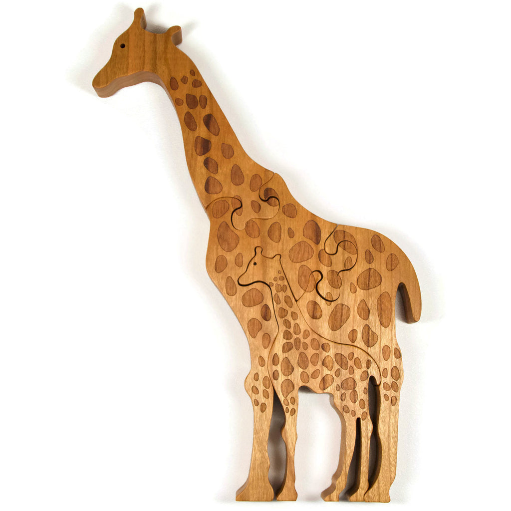 Wooden Giraffe Puzzle with Baby Giraffe - Little Wooden Wonders