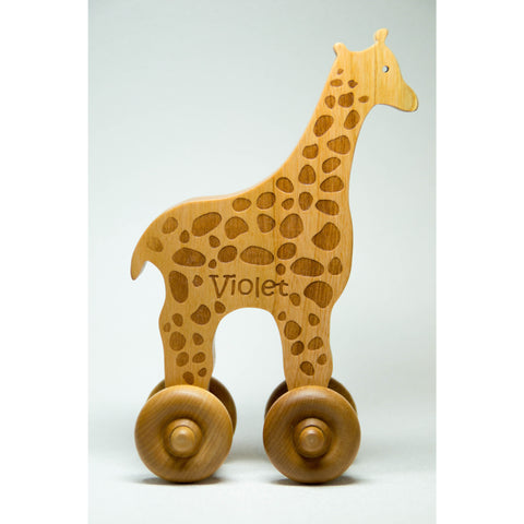 Wooden Toy Giraffe Car Cherry Wood Personalized Push Toy Baby Toddler Children - Little Wooden Wonders