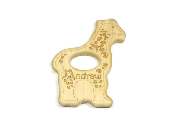 Wooden Baby Rattle - Giraffe Baby Rattle - Little Wooden Wonders