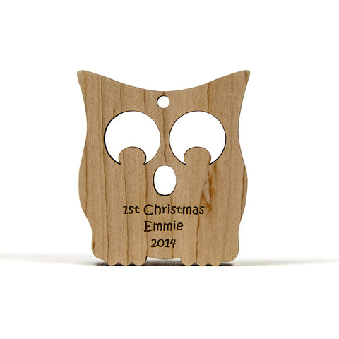 Baby's First Christmas Ornament Wooden Owl - Little Wooden Wonders