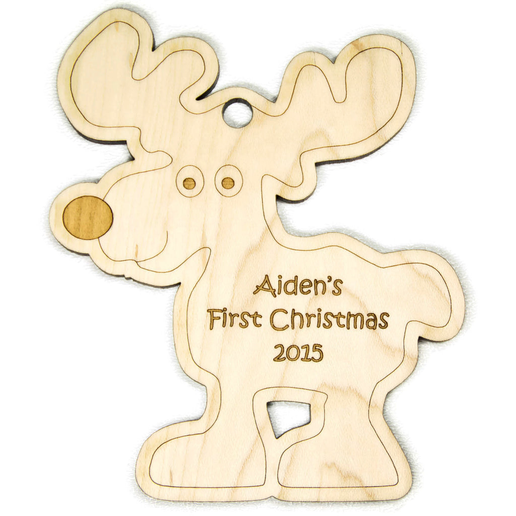 Baby's First Christmas Christmas Ornament Reindeer Christmas Personalized - Little Wooden Wonders