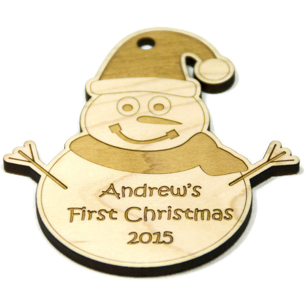 Snowman Ornament Christmas Personalized for Babys First Christmas - Little Wooden Wonders