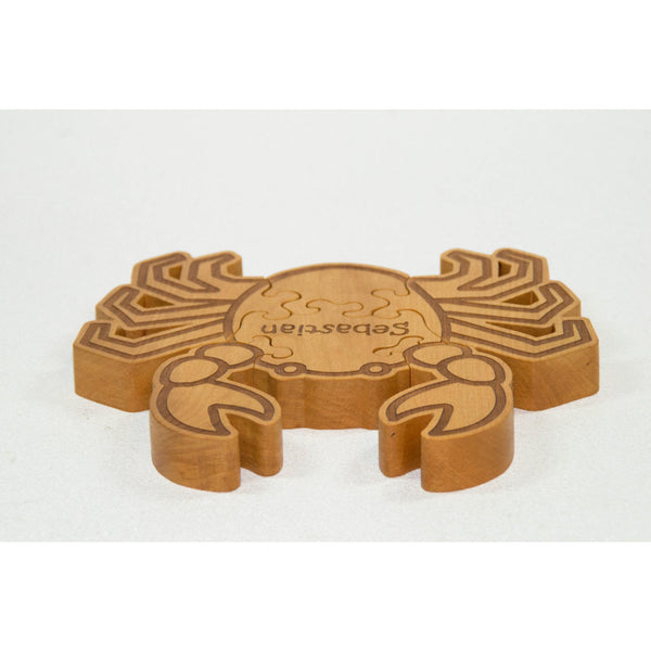 Wooden Animal Puzzle Crab Puzzle Engraved and Personalized For Children - Little Wooden Wonders