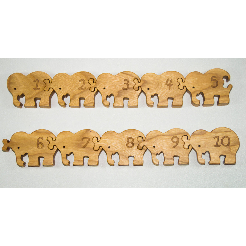 Wooden Number Puzzle, Wooden Counting Puzzle, Elephant Puzzle, Wooden Number Puzzle - Toddler Toy - Birthday Gift - Little Wooden Wonders