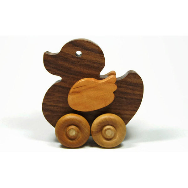 Wooden Duck Toy for Children and Toddlers All Natural Push Toy - Little Wooden Wonders