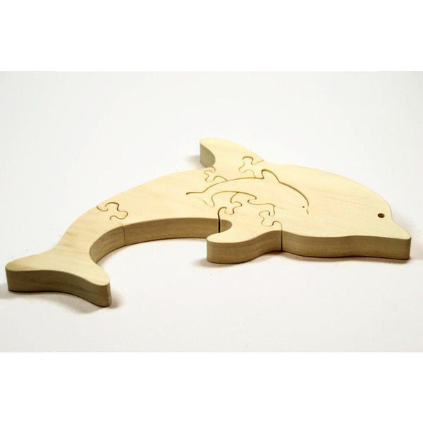 Wooden Dolphin Puzzle with baby Gift for Toddlers and Children Personalized Name for Free - Little Wooden Wonders