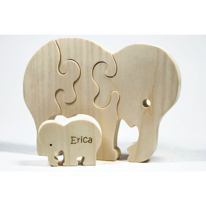 Wooden Animal Puzzle, Elephant Puzzle, Children's Puzzle, Personalized Wooden Puzzle, Children's Toy, Baby Shower Gift, Baptism Gift - Little Wooden Wonders