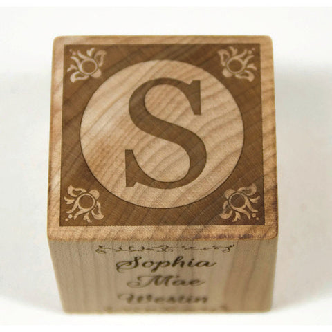 Wooden Baby Block, 2 inch block, Baptism Gift Baby Shower Personalized Nursery Decor - Little Wooden Wonders