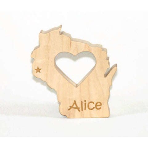Wooden Baby Teether State of Wisconsin Personalized Baby Teething Toy - Little Wooden Wonders