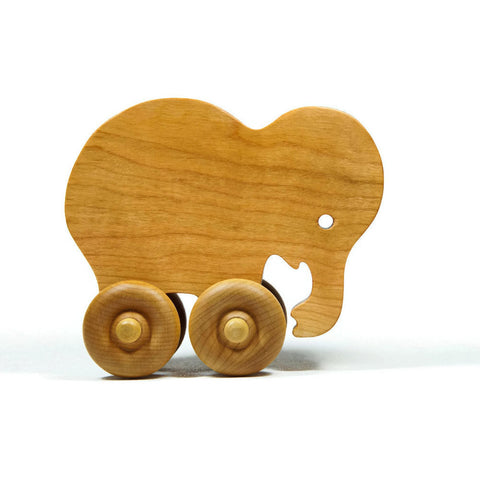 Elephant Car Wood Push Toy - Little Wooden Wonders