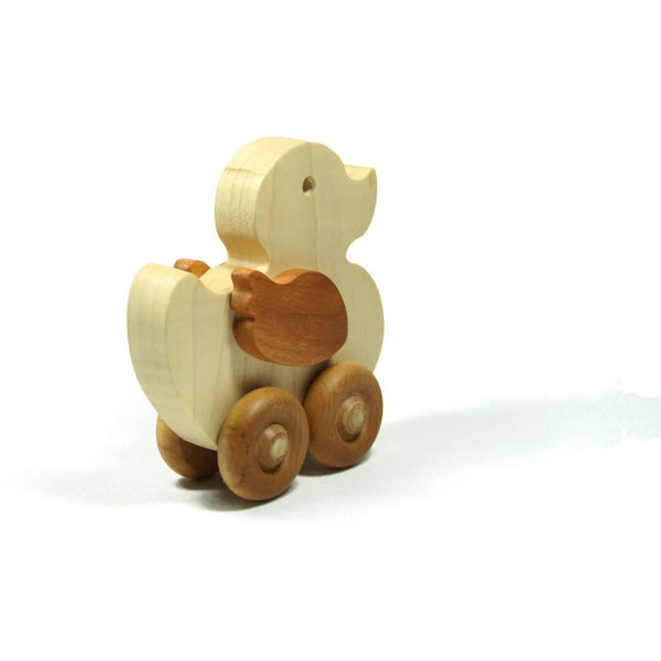 Wooden Car, Duck Toy Car , Wood Duck Toy, Push Wood Car, Personalized Toy Car - Little Wooden Wonders