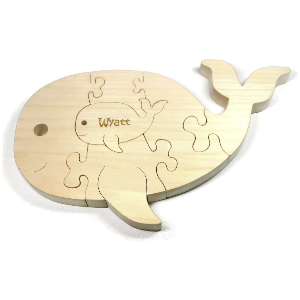 Wooden animal puzzle whale engraved for personalized handmade wooden puzzle whale puzzle with baby gift for toddlers and children personalized name little negle Image collections