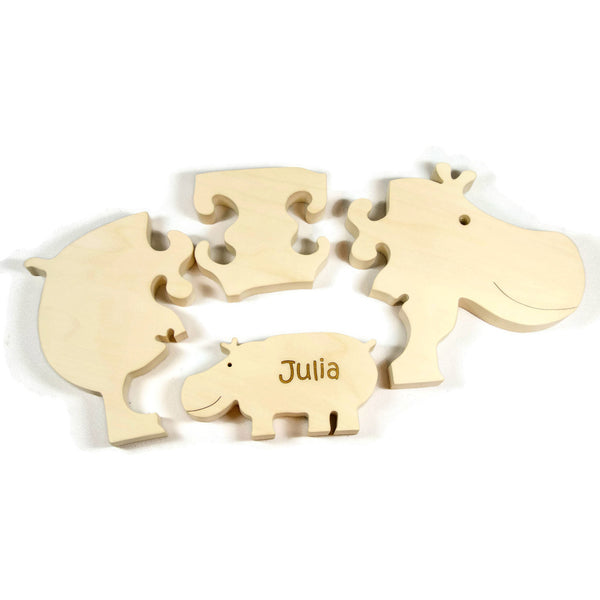 Wooden Puzzle Hippo Hippopotamus with baby Gift for Toddlers and Children Personalized name - Little Wooden Wonders