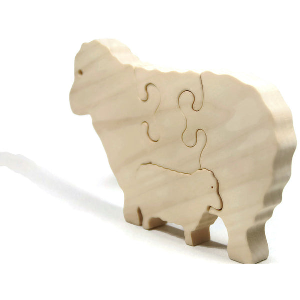 Wooden Puzzle Personalized Children and Toddler Toy Sheep Farm Animal Puzzle - Little Wooden Wonders