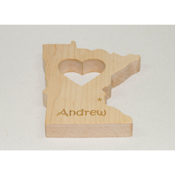 Wooden Baby Teether State of Minnesota Personalized Baby Teething Toy - Little Wooden Wonders