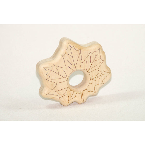 Wooden Baby Teether Maple Leaf Baby Teething Toy - Little Wooden Wonders