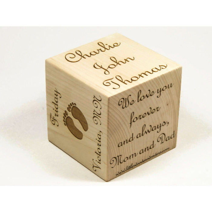 Personalized wooden baby block 3 square handmade made to personalized baby blocks 3 inch baby block newborn birthday baptism gift negle Image collections