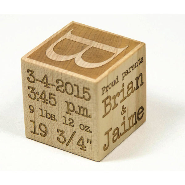 Personalized Baby Block, 2 inch Newborn Birthday Baptism Gift Custom Engraved - Little Wooden Wonders
