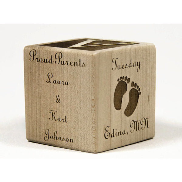 Personalized Wooden Baby Blocks, 2 inch baby block, Baby Shower Gift, Baptism Gift Baby Blocks - Little Wooden Wonders