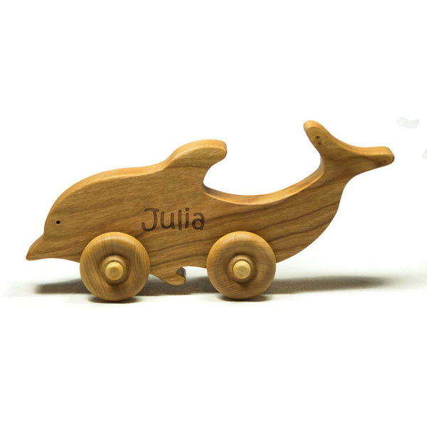 Wooden Toy Car Personalized Dolphin Animal Children Car Toy - Little Wooden Wonders