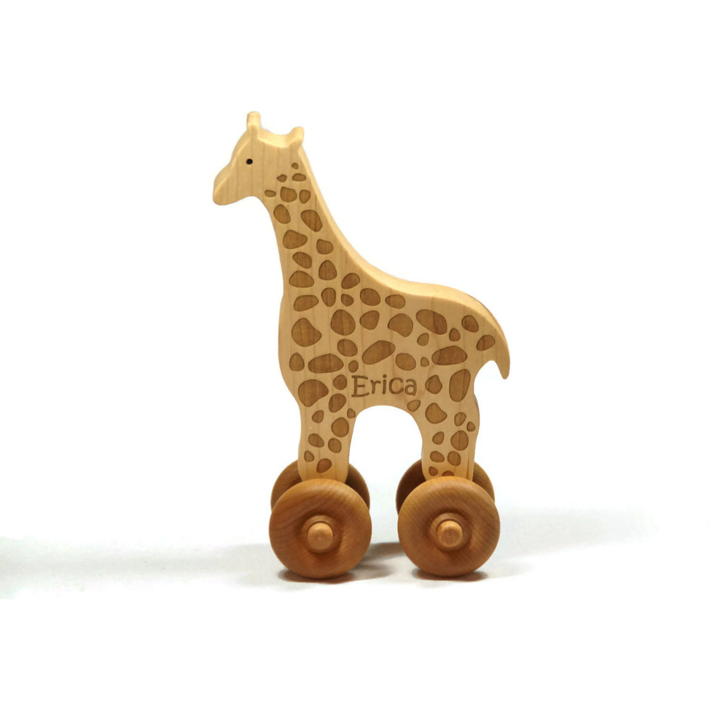 Wooden Toy Giraffe Car Maple Wood Personalized Push Toy Baby Toddler Children - Little Wooden Wonders