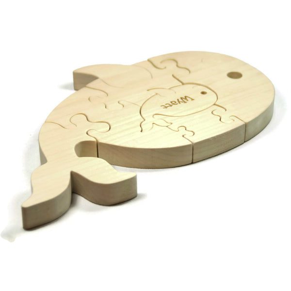 Wooden Puzzle, Whale Puzzle with baby Gift for Toddlers and Children Personalized name - Little Wooden Wonders