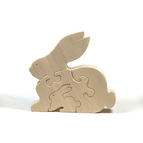 Rabbit Puzzle Wood Baby Bunny Eco Friendly and Green for Toddlers and Children - Little Wooden Wonders
