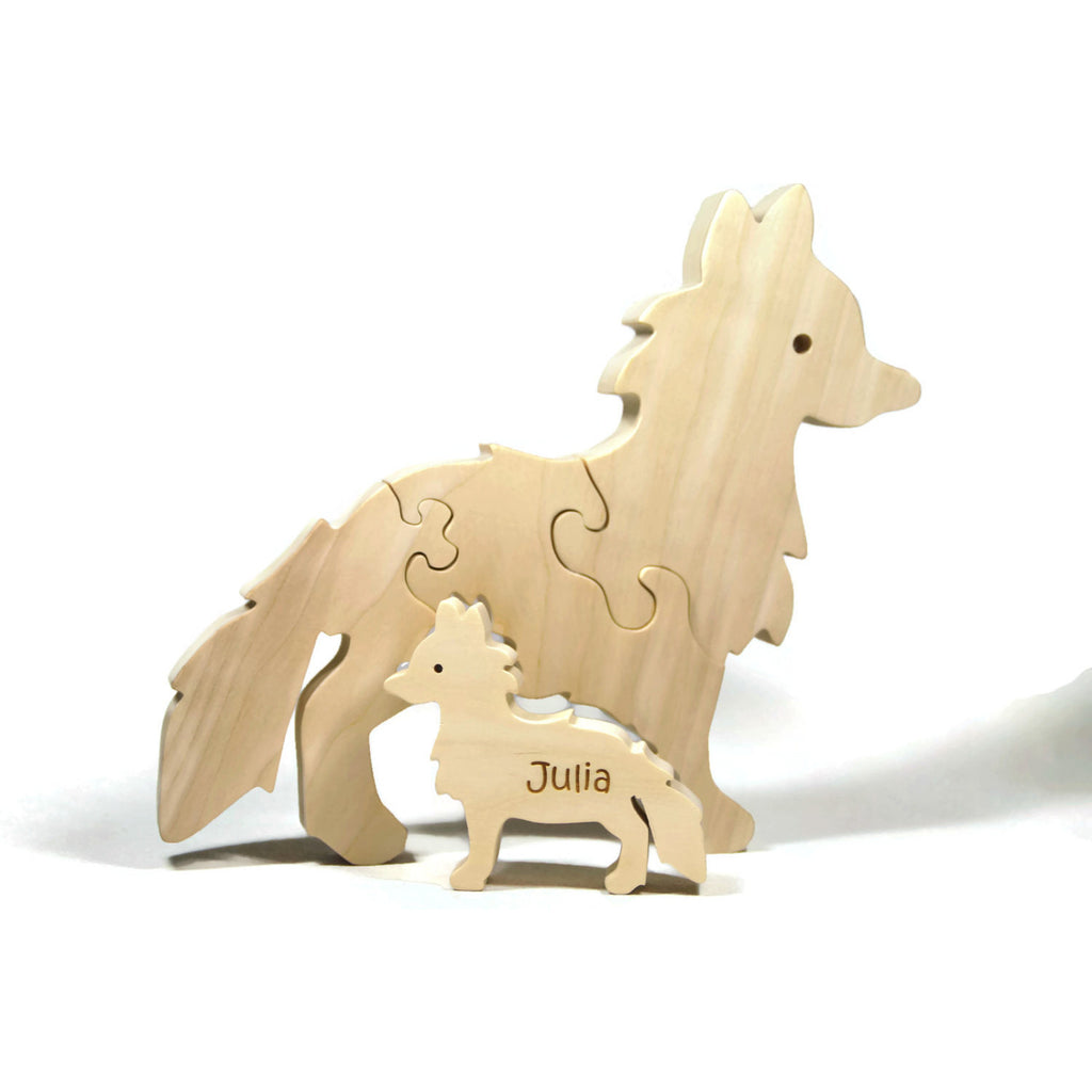Wooden Animal Puzzle, Fox Puzzle, Waldorf Puzzle, Wood puzzle with Baby Personalized gift for children and toddlers - Little Wooden Wonders