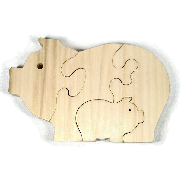Pig Puzzle Wood Baby Pig Eco Friendly and Green for Toddlers and Children - Little Wooden Wonders