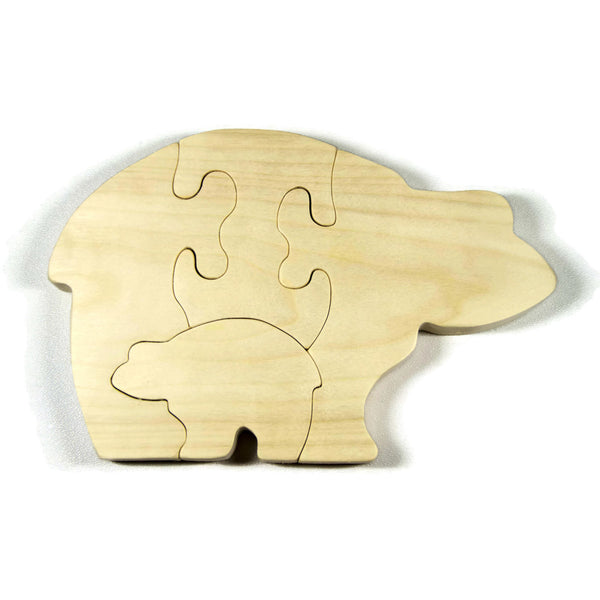 Wood Bear Puzzle Baby Bear Personalized for Kids and Baby - Little Wooden Wonders
