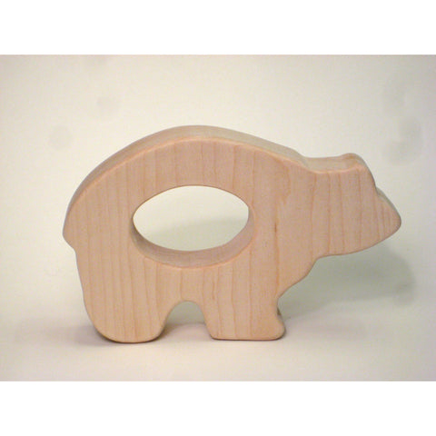 Wooden Teether Baby Toy Bear Teether for Baby and Children - Little Wooden Wonders