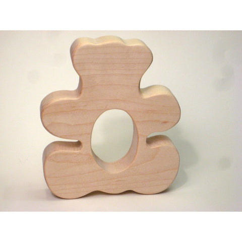 Wooden Teether. Teddy Bear Teether for Infants and Toddlers - Little Wooden Wonders