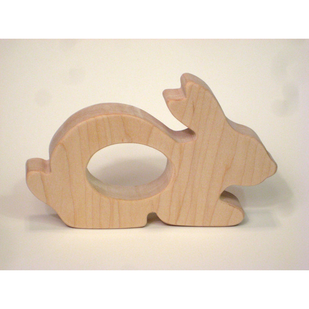 Wooden Teether, Bunny Teether, Natural Maple Wood Teether - Little Wooden Wonders