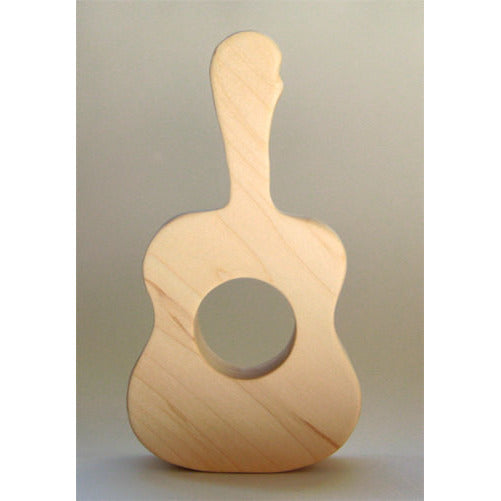 Wooden Guitar Teething Toy for Infants and Toddlers Eco Friendly Natural - Little Wooden Wonders